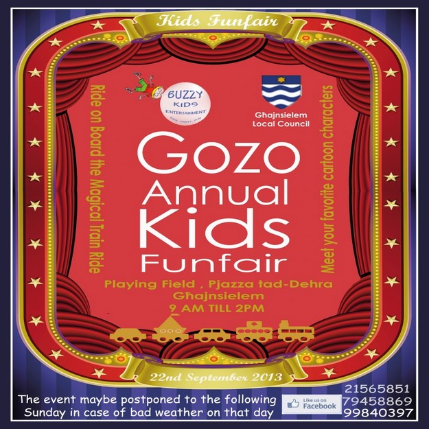 Gozo annual children's funfair in Ghajnsielem next Sunday
