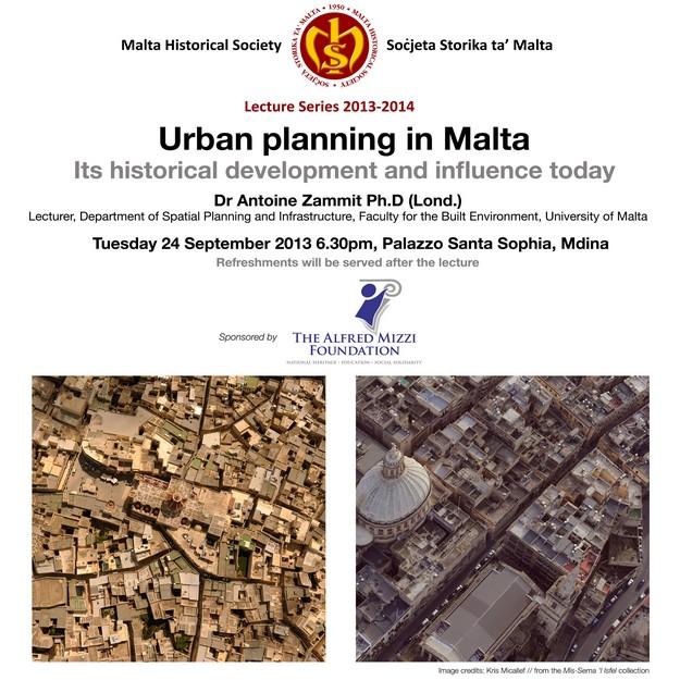 'Urban planning in Malta' -  Dr Antoine Zammit public lecture