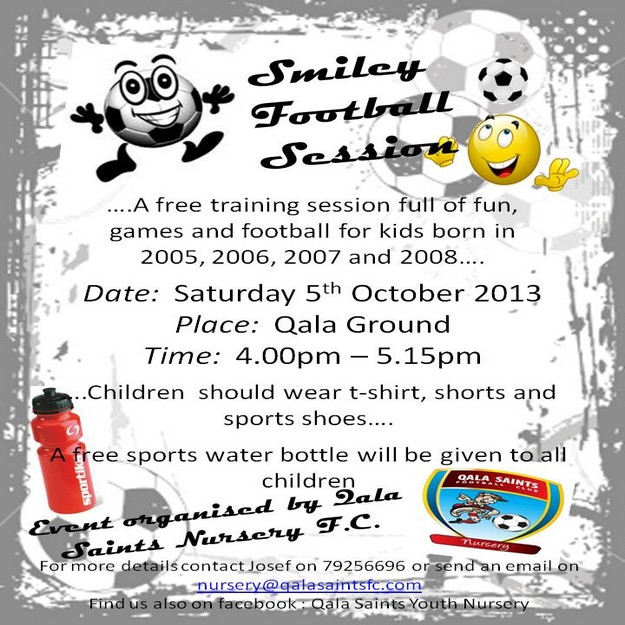 'Smiley Football Session' with the Qala Saints Nursery F.C.