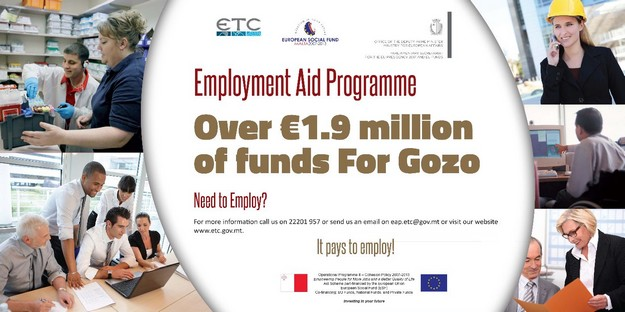 Date extended on applications for Gozo Employment Aid programme