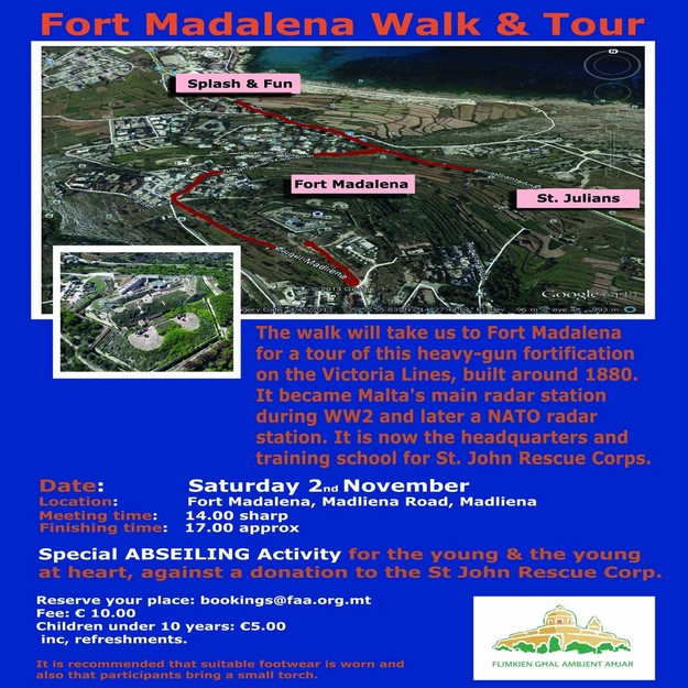 FAA organised walk and tour of Fort Madalena in November