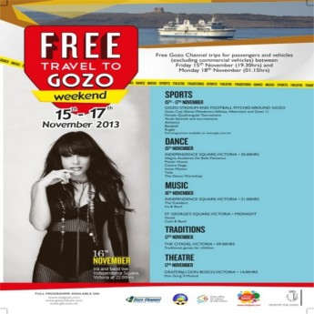 Free Gozo Channel trips to Gozo weekend taking place in November