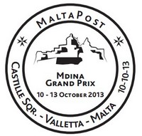 MaltaPost special and postmark for the Mdina Grand Prix 2013