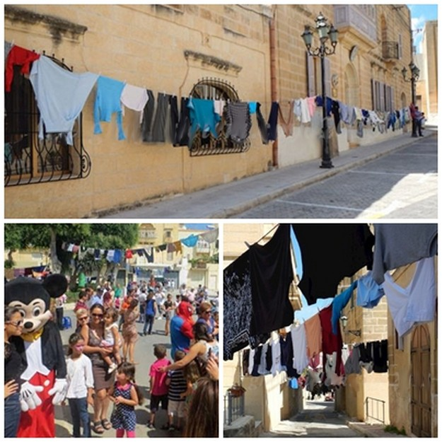 Ghajnsielem breaks record for longest clothes line in Malta & Gozo