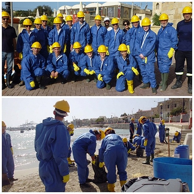 Volunteers training in case Malta ever has an oil spill disaster