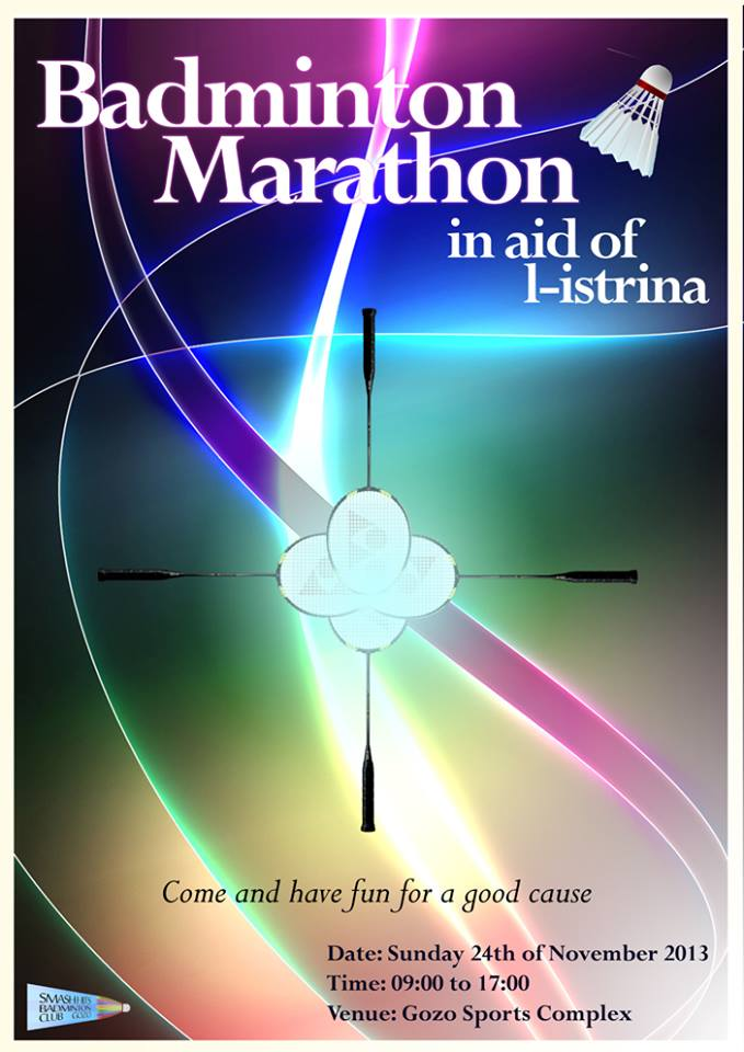 Badminton Marathon in aid of L-Istrina at the Gozo Sports Complex