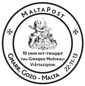 Special Hand Postmark - 10th anniversary of Ghaqda Muzikali Vizitazzjoni