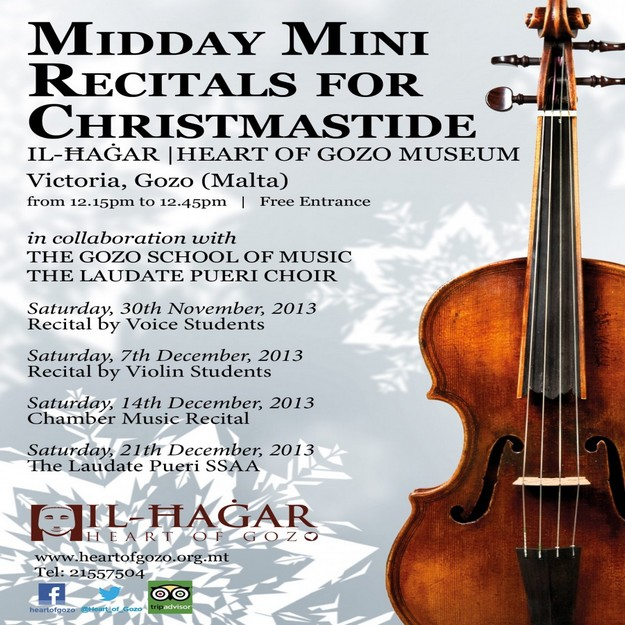 Midday Mini Recitals for Christmastide start today at Il-Hagar Museum