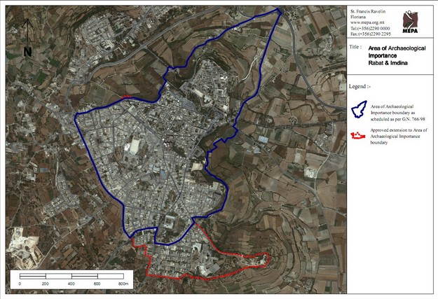 Rabat and Mdina Scheduled as an Area of Archaeological Importance