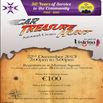 The Victoria Scout Group 'Car Treasure Hunt' next Sunday in aid of L-Istrina