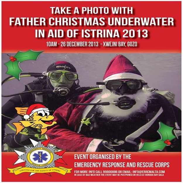 Take a photo with Father Christmas Underwater in aid of L-Istrina 2013