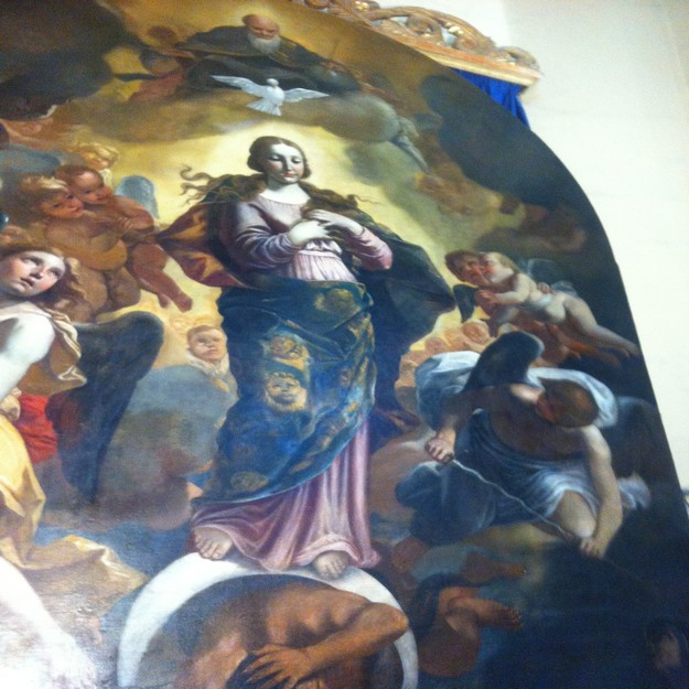 Saving the Immaculate Conception painting at Sarria Church by Mattia Preti