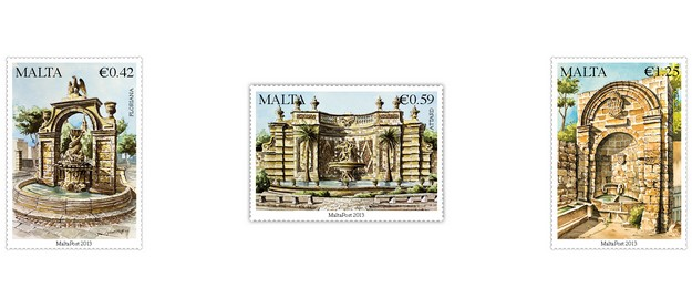 MaltaPost stamp set 'Treasures of Malta Series II - Fountains'