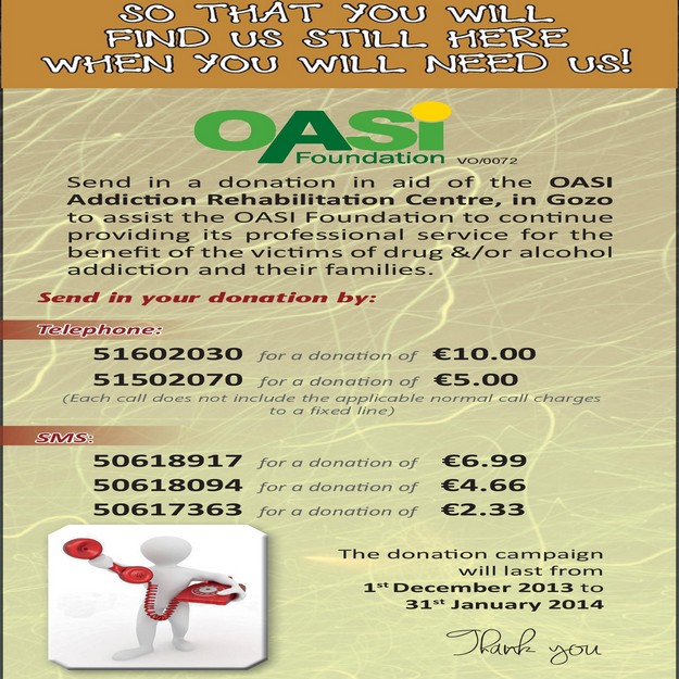 Fundraising campaign in aid of the OASI Addiction Rehabilitation Centre