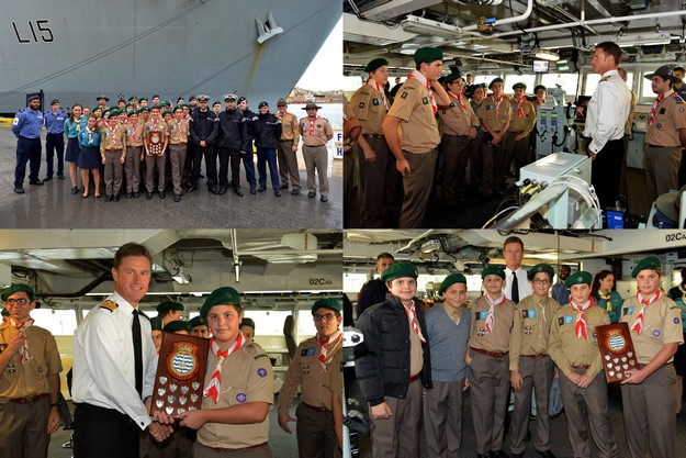 Maltese Scouts pay winning visit to HMS Bulwark following Gozo competition