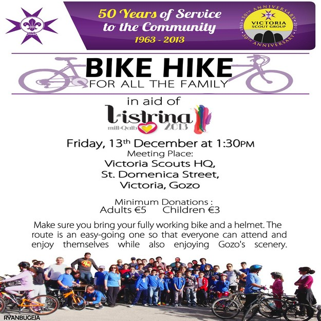 Victoria Scout Group organises a 'Bicycle Hike' in aid of L-Istrina campaign