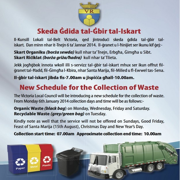 Victoria Council announces a new schedule for the collection of waste
