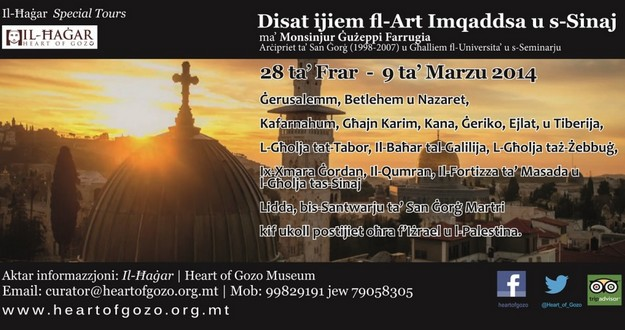 Tour of the Holy Land being organised by Il-Hagar Museum, Gozo