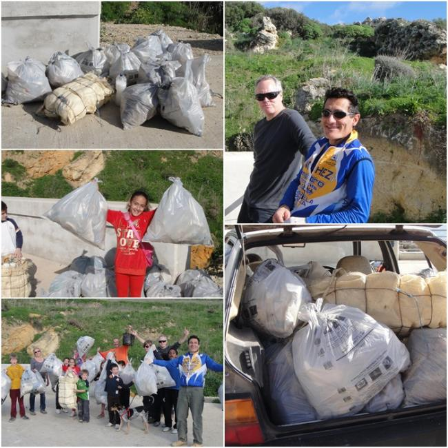 26 rubbish bags filled in clean-up of the Gozo countryside
