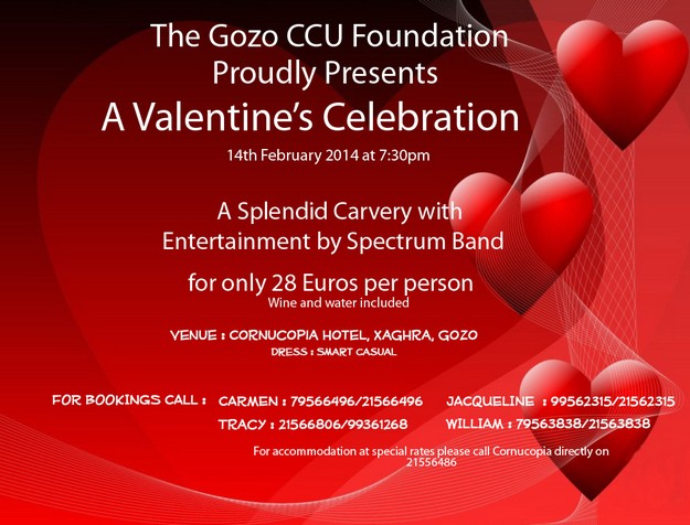 Valentine's Day celebration dinner with the Gozo CCU Foundation
