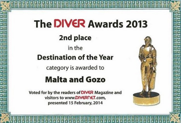 Malta and Gozo voted as the 2nd 'Best Diving Destination'