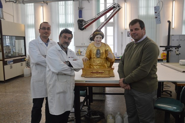 Bust of St Ursula under restoration by Heritage Malta team