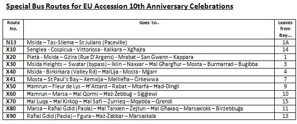 Special Bus Services for Malta's EU Accession 10th Anniversary