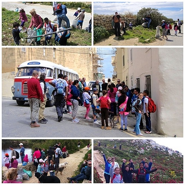 35 people & 4 dogs collect 30 bags of rubbish on Gozo up hike