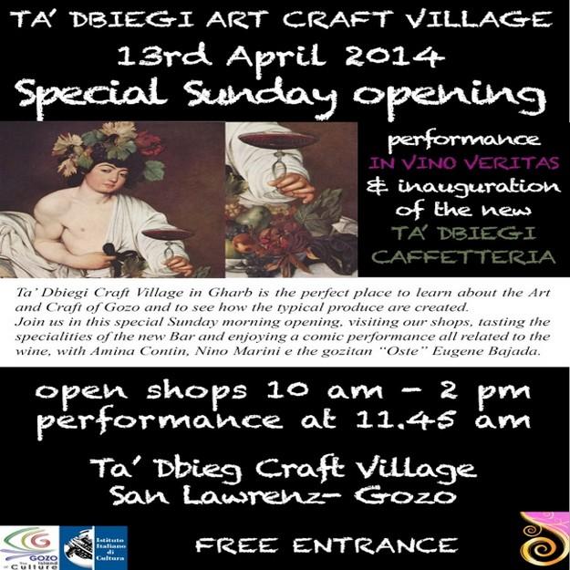 'In Vino Veritas' for Ta' Dbiegi Craft Village special Sunday opening