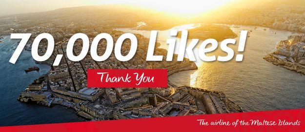 Air Malta's Facebook page hits more than 70,000 'Likes'