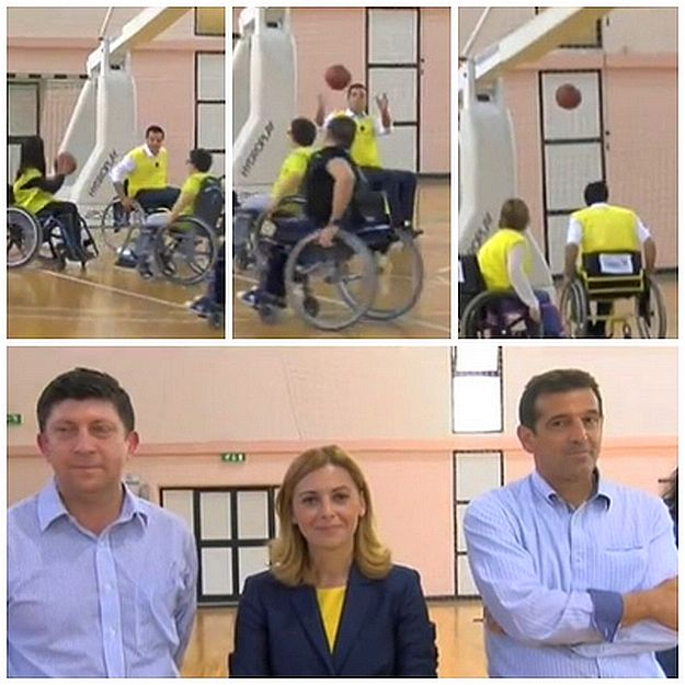 Wheelchair basketball game with the disabled & MEP candidates