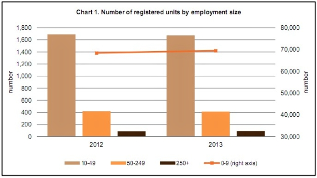 In 2013 the number of Registered Business Units rose by 1.4% over 2012