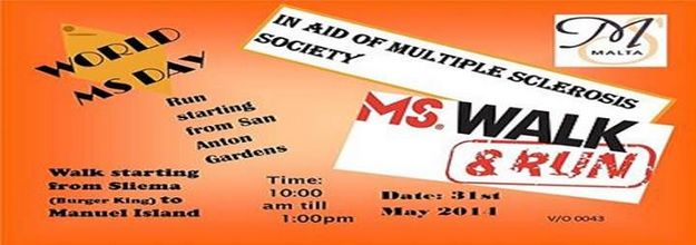 Multiple Sclerosis Society of Malta: Multiple Sclerosis walk & run next Saturday