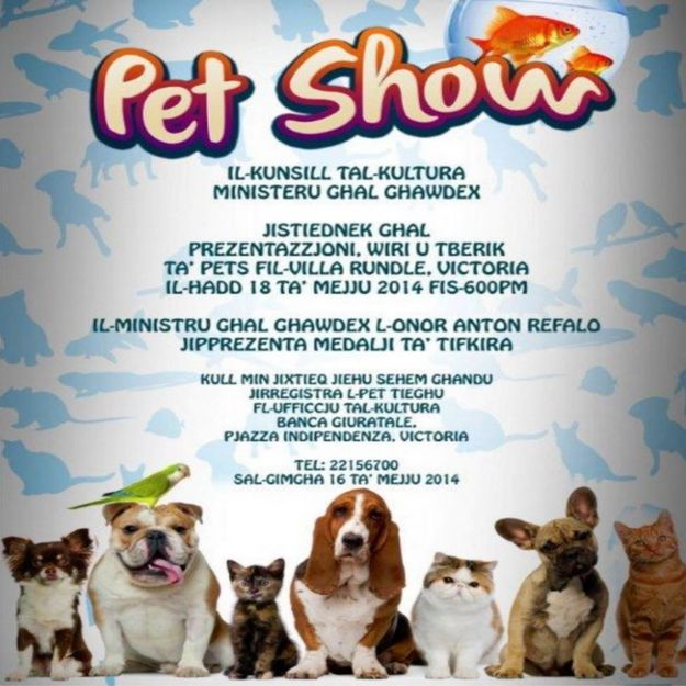 Pet Show this Sunday at the Villa Rundle Gardens in Victoria, Gozo