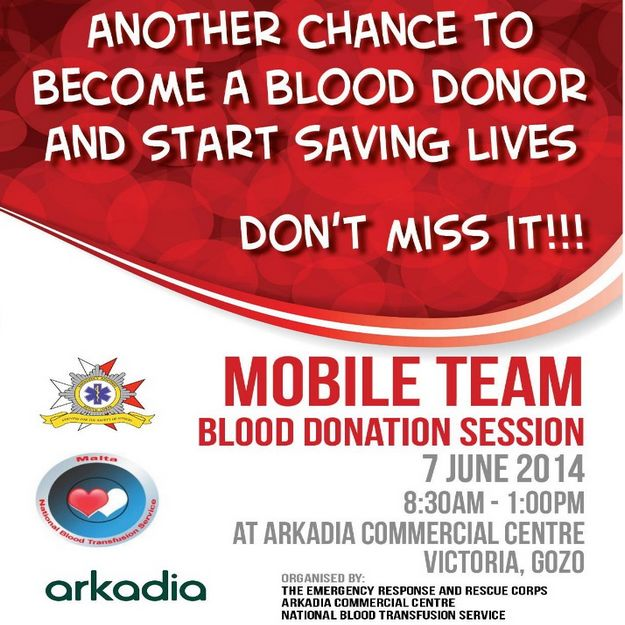 ERRC Blood Drive this coming Saturday at the Arkadia Centre in Gozo