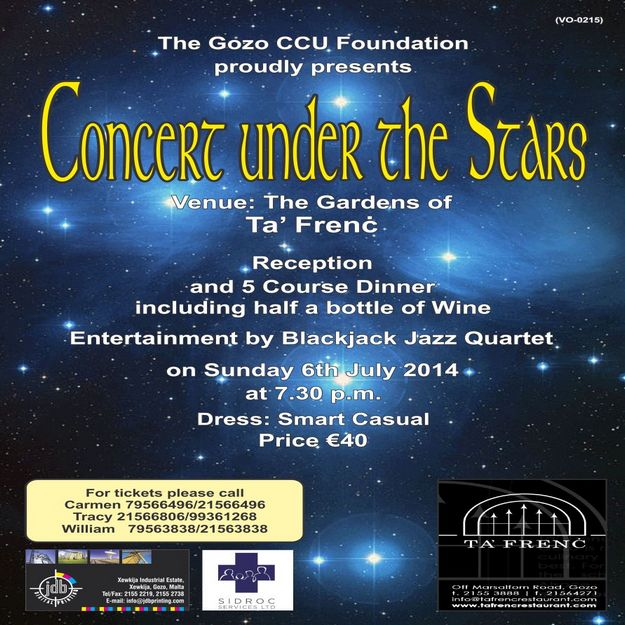 'Concert under the Stars 2014' in aid of the Gozo CCU Foundation