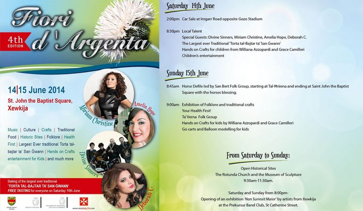 Fiori D'Argenta: This weekend at St John the Baptist Square, Xewkija