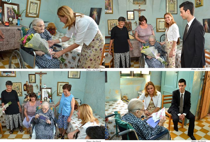 Dr Justyne Caruana visits Loreta Curmi, the oldest person in Gozo
