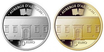 Two numismatic coins issued depicting the Auberge d'Aragon