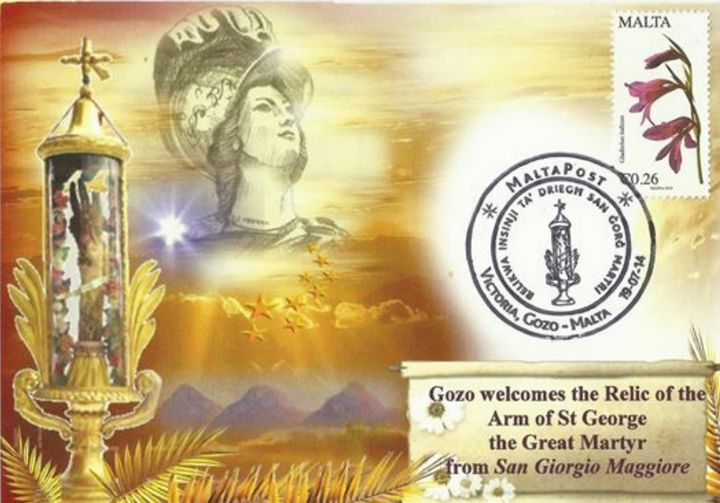 Special card issued for Gozo visit of the Holy Relic of the arm of St George