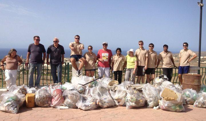 Volunteers clean area below Gnien il-Kunsill and Ta' Kenuna in Nadur