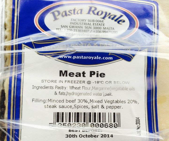 Pasta Royale meat pie contains undeclared pork: Environmental Health