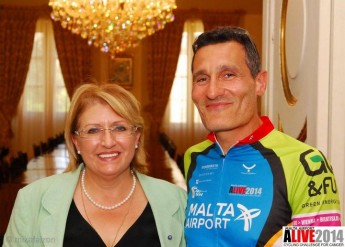 ALIVE 2014 Cycling Challenge team meet with the President of Malta