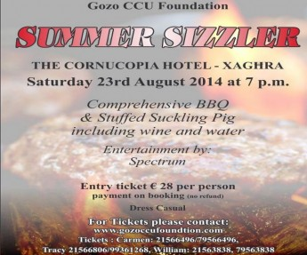 An August 'Summer Sizzler' BBQ in aid of the Gozo CCU Foundation