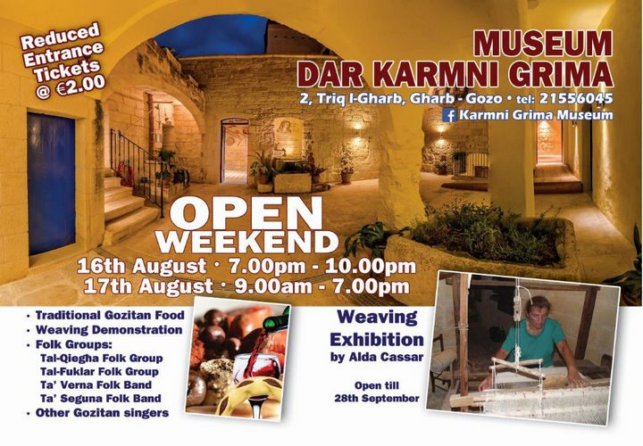 Special Open Weekend next week at Dar Karmni Grima Museum