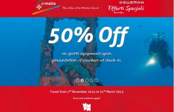 50% off the carriage of sports equipment when flying Air Malta