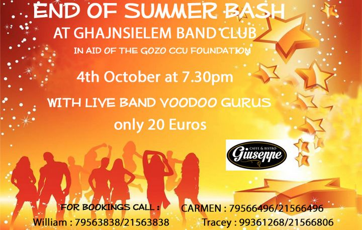 End of Summer Bash: BBQ in aid of the Gozo CCU Foundation