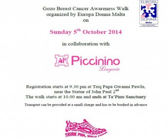 Gozo Breast Cancer Awareness Walk takes place this coming Sunday
