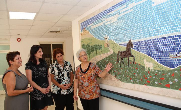 Mosaic mural installed in the foyer of Tal-Ibragg Hospital, Victoria