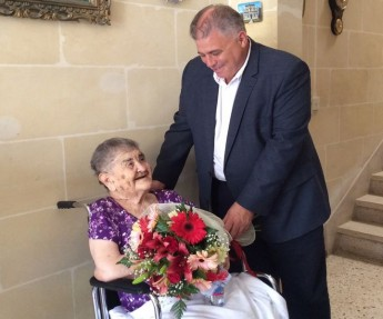 Gozo Minister visits Maria Xerri on the occasion of her 100th birthday